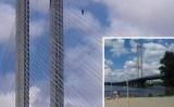В Киеве снимали детей экстрим на веревках Южного моста